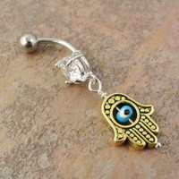 Gold Turkish Evil Eye Belly Button Ring Hand of by MidnightsMojo