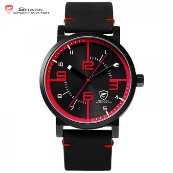 Bahamas Saw Sport Watch Black Red Men Quartz Simple Analog 3D Face Clock Crazy Horse Leather Band