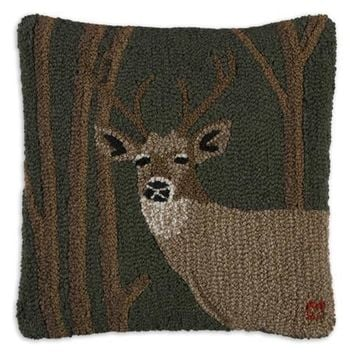 "Woodland Deer 18"" Hooked Wool Pillow"