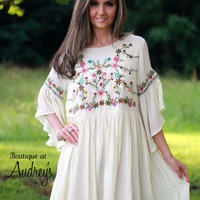 Umgee Ivory Embroidered Dress - Boutique At Audrey's