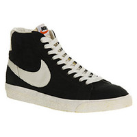 Nike BLAZER HI SUEDE VINTAGE BLACK WHITE Shoes - Nike Trainers - Office Shoes