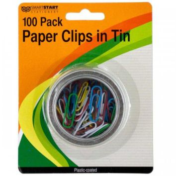 Plastic Coated Paper Clips In Round Tin