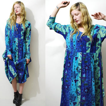 90s Vintage BABYDOLL Dress Grunge Sea Punk Aqua Blue Floral Bohemian Long sleeve Maxi dress Button-up Gauze Cheesecloth 1990s vtg M L