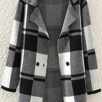 Grey Plaid Cardigans