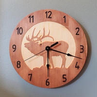 Elk clock Deer clock Wood clock Nature clock Wooden wall clock Hunting decor Hunting gift Cool clock Home clock Deer decor Wildlife clock