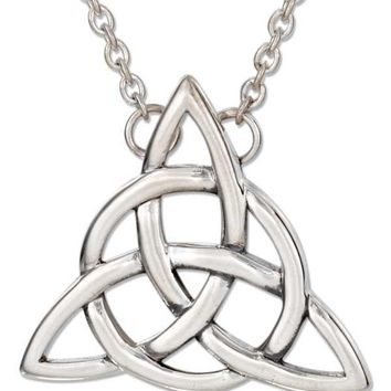 "Sterling Silver Necklaces: 18"" Celtic Trinity Knot Necklace With Cable Chain"