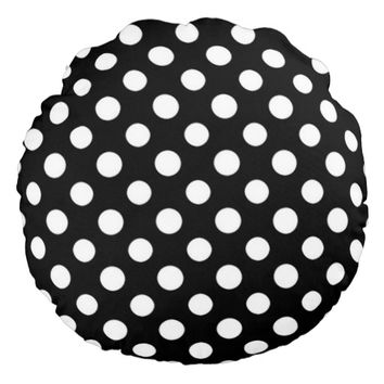 White Polka Dot Pattern on Black Background Round Pillow