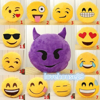 32cm Bed Home Office Car Emoji Smiley Smile Emoticon Yellow Round Cushion Pillow Stuffed Plush Doll Soft Toy = 1946362116