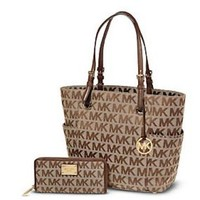 Authentic New Michael Kors Purse - Signature Logo Tote and Wallet Set