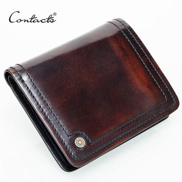 CONTACT'S Small Leather Wallet Men Handmade Burnished Italy Leather Purse Photo Holder Credit Card Holders Purse Brand Designual
