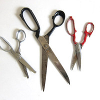 Instant Collection // 3 pair of Vintage Industrial Metal Kitchen Scissors Red Black / seamstress tailor supplies