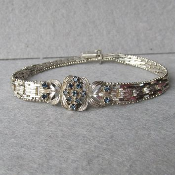 Vintage 1970's Italian Sterling Silver with Sapphires Flexible Chain Link Bracelet