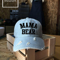 Baseball Cap Mama Bear, Denim Cap, Jean Cap, Mama Bear cap,Mom Hats Mother Hats Gift For Mom Mother Day, Low-Profile Baseball Cap Hat