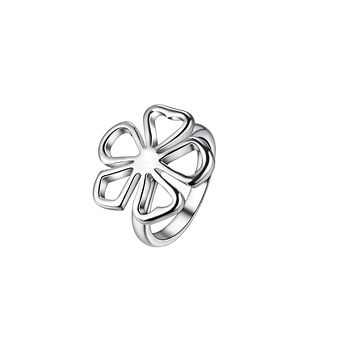 Top flower silver plated women finger ring