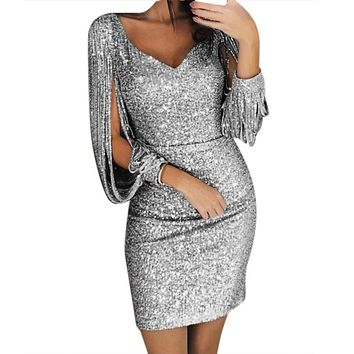 Women Sexy Solid Sequined Stitching Shining Club Sheath Long Sleeved Mini Dress