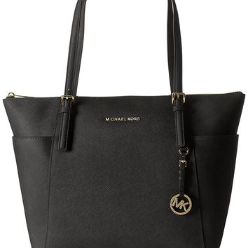 Michael Kors Women's Jet Set Large Top-Zip Saffiano Leather Tote Bag, Black, OS