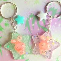 Kawaii sparkle star green - pink love bunny keychain  -  Fairy kei accessory - sweet lolita - pastel goth - cute charm