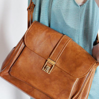 60s faux LEATHER cross body SATCHEL bag Multiple Pockets Over the Shoulder PURSE Messenger