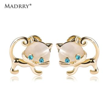 Madrry Alloy Metal Kawaii Double Cat Earrings With Crystal Eyes