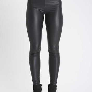 Leggsington Thea Waspie Wonderpants Faux Leather Black Leggings