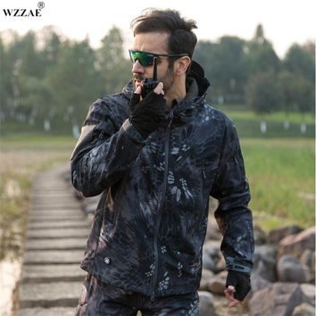 Tactical Snake Camouflage Army Jacket Men Military Shark V4.0 Waterproof Soft Shell Outdoors Jackets Fleece Hooded Camo Clothes