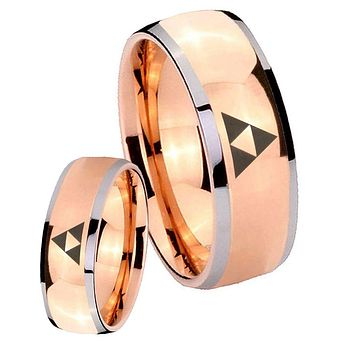 His Hers Rose Gold Dome Zelda Triforce Two Tone Tungsten Wedding Rings Set