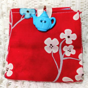 Cherry Blossoms Tea Wallet Fabric Tea Bag and Sweetener Envelope for the Purse - One of a Kind!