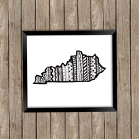 State of Kentucky Art Print, Kentucky State Art Print, Kentucky Art, Kentucky Zentangle