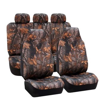 FH Group Hunting Camo / Camouflage Airbag Compatible and Split Bench Car Seat Covers, Full Set