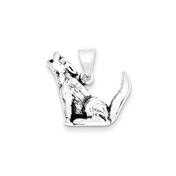Sterling Silver Antiqued Wolf Charm