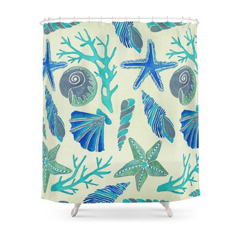 Society6 Blue Seashells Shower Curtains