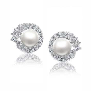 Shell Pearl W. Clear Baguette and Round Cubic Zirconia Stud Earrings
