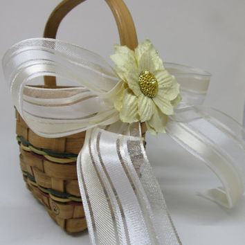 SMALL Vintage Woven Natural Basket-Colored Bands-Yellow White Bow-Yellow Bling Floral Accent-Flower Girl Basket-Wedding Decor-Toddler Basket
