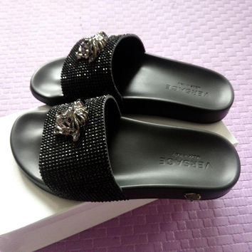 Versace Women Fashion Casual Slipper Shoes Black