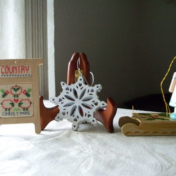 Variety of 4 Vintage Christmas Wooden Ornaments