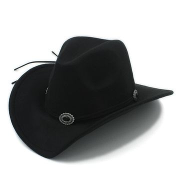 Fashionable Wool Gentleman's Cowboy Hat With Leather Toca