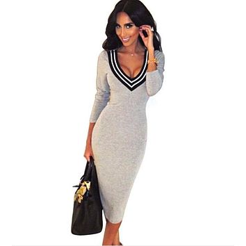 Vestidos 2017 spring summer robe femme Sexy V-Neck Knitted Long Sleeve Pencil Dress women Elegant office Bandage bodycon dress