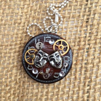 Theatre Mask Steampunk Necklace