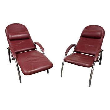 Pre-owned Mid-Century Leather & Chrome Chairs - A Pair