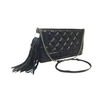 Chanel Black Quilted Lambskin Pochette With Tassel