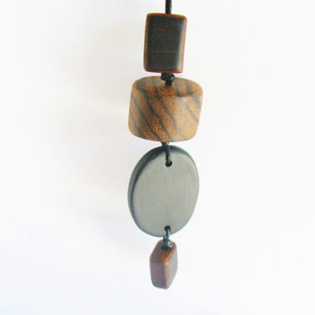 Tribal Necklace Chunky Beads Ebony Zebrawood Bocote