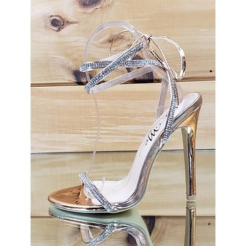 "Seren Rose Gold Strappy Rhinestone Tie Up Stiletto - 4.5"" High Heel Sandal Shoes"