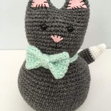 Crochet Stuffed Cat, fat kitty decor, cat stuffed animal, cat pillow, handmade doll, house decor, nursery decor, childrens toy, baby toy