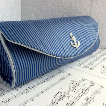 Silk striped nautical clutch, royal blue and light blue clutch purse with silver rhinestone anchor , made to order