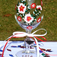 Graduation 2014 Custom Painted Glass Keepsake With Charm