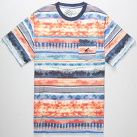 Lrg Research Stripe Mens Pocket Tee Blue Combo  In Sizes