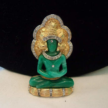 HATTIE CARNEGIE Vintage Royal King Buddha Brooch Rhinestone Jade Glass Book Piece Rare Figural Pin