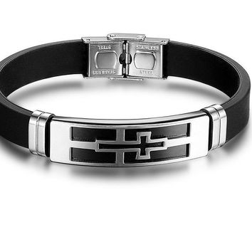Steel Cross PU Leather Stainless Steel Men's Bracelet