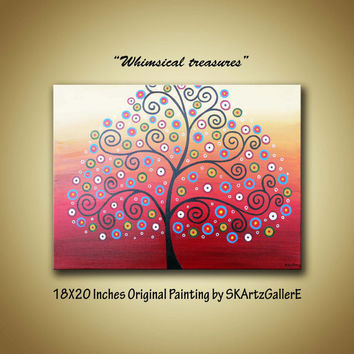 Whimsical Swirl tree colorful circles landscape Original Acrylic Painting - Contemporary Modern Home Wall decor Artwork on Canvas 18 x 20