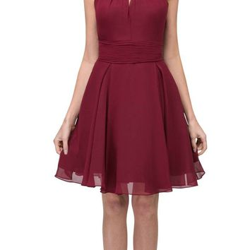 Burgundy A-line Short Homecoming Dress Keyhole Neckline